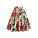 Vintage High Waist Western Girl Floral Printed Cotton Midi Flare Skirt