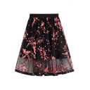 Summer Chic Floral Embroidery Gathered Waist Sexy Layered Mesh Midi A-Line Skirt
