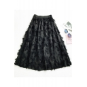 New Stylish Unique Tassel Feather Embellished Midi A-Line Skirt