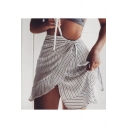 New Fashion Trendy Stripe Printed Tied Waist Mini A-Line Wrap Skirt