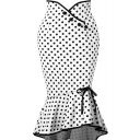 Classic Polka Dot Pattern Button Embellished Tied Detail Ruffled Fishtail Bodycon Skirt in White