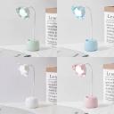 Flower Shape LED Reading Light USB Charging Port Pen Holder Design Desk Lighting for Bedroom Dormitory