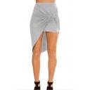 Unique Twist Open Front Solid Color Womens Bodycon Asymmetrical Skirt