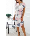 Fashion Geometric Printed V-Neck Short Sleeve Tied Waist Midi Sheath Dress