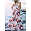 Summer Trendy Tropical Leaf Printed V-Neck Tied Waist Maxi Bohemian Beach Dress Slip Dress