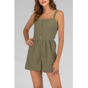 Womens Basic Simple Plain Button Front Green Rompers