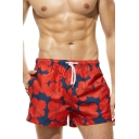 Mens Summer Chic Floral Printed Quick Drying Beach Board Shorts Swim Shorts