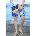Summer New Stylish Colorblock Drawstring Waist Cotton Loose Swim Trunks for Men