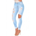 Womens Fashion Light Blue Distressed Ripped Knee Cut Skinny Fit Jeans with Hole