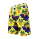 Men's Summer Fashion Yellow Pineapple Printed Drawcord Waist Beach Swim Trunks with Lining