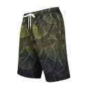 Summer Chic Green Leaf Printed Mens Quick Dry Surfing Swim Trunks with Liner