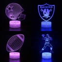 Christmas Birthday Gift 3D Night Light 7 Color Changing Rugby Element Pattern LED Bedroom Light with Touch Sensor