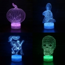 Decorative 7 Color 3D Night Light Touch Sensor Halloween Element Pattern LED Bedside Lamp for Festival