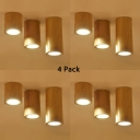(4 Pack)Rustic Style Cylinder Down Light Acrylic and Wood Beige LED Ceiling Light in White/Warm for Living Room Foyer