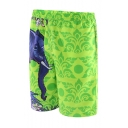 Green Mens Summer Elastic Elephant Flowers Print Beach Shorts with Mesh Liner