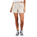 Womens Basic Beige Solid Color Drawcord Waist Casual Wide Leg Paperbag Shorts