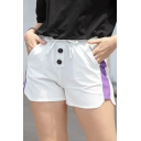 Womens Fashion Colorblock Drawcord Waist Two-Button Front White Sport Shorts