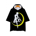Popular Comic Girl Sailor Moon Print Short Sleeve Hooded Unisex Black Tee
