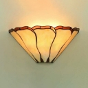 Flower Shape Bedroom Sconce Light Glass Shade 1 Light Conical Tiffany Style Wall Sconce Light