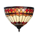 Restaurant Shop Conical Sconce Light Stained Glass 1 Light Tiffany Style Antique Sconce Lamp