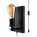 Antique Style Open Bulb Wall Lamp Metal One Light Black Wall Lighting with Plug In Cord for Bathroom