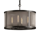 4/8 Lights Drum Shape Hanging Light Traditional Metal Chandelier in Black for Living Room Foyer