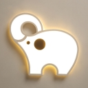 Acrylic Elephant Shape Ceiling Light Boy Girl Bedroom White/Third Gear/Stepless Dimming Flush Mount Light