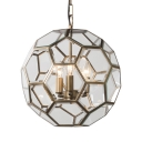 3 Lights Polyhedron Shade Chandelier Rustic Style Metal and Glass Hanging Light for Restaurant Living Room