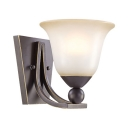 White Bell Shade Sconce Light Glass Metal 1 Light Vintage Wall Lamp for Bedroom Dining Room