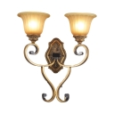2 Lights Bell Shade Wall Sconce Antique Style Metal and Glass Wall Light for Stair Hallway