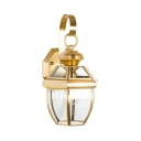 Vintage Style Brass Hanging Wall Light with Lantern Shade 1 Light Metal and Clear Glass Sconce Light for Hallway