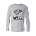 New Stylish Wolf Head HOUSE STARK Printed Round Neck Long Sleeve T-Shirt