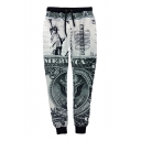 Men's Casual Statue of Liberty 3D Printing Drawstring Waist Jogger Sweatpants