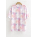 Girls Summer Trendy Tie Dye Short Sleeve Round Neck T-Shirt