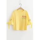 Girls Summer Sweet Strawberry Bow Tied Short Sleeve T-Shirt