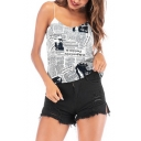 Street Style Retro Newspaper Printed Summer Girls Loose Relaxed Cami Top