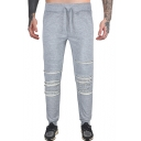 Men's Plain Ripped Hole Drawstring Waist Cotton Straight-leg Sport Joggers SweatPants