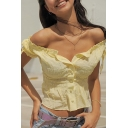 Summer Hot Popular Ruffled Hem Bow-Tied Short Sleeve Button Front Pleated Yellow T-Shirt
