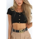Womens Basic Simple Plain Scoop Neck Short Sleeve Button Front Rib Knit Cropped T-Shirt