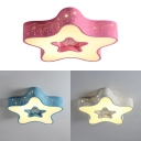 Cute Star Shape Ceiling Light White Lighting/Stepless Dimming LED Flush Mount Light in White/Blue/Pink for Bedroom