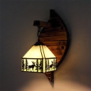 Rustic Deer Hanging Wall Light Glass and Wood Black Wall Sconce for Dining Room Hallway