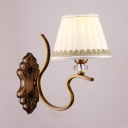 Fabric and Metal Wall Lamp Dining Room Foyer 1/2 Lights Antique Style Tapered Shade Sconce Light
