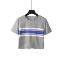 Women's Striped Printed Gray Round Neck Short Sleeve Hem Drawstring Cropped Tee