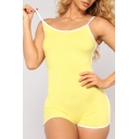 Summer Trendy Contrast Trim Spaghetti Strap Sport Slim Fit Romper for Women