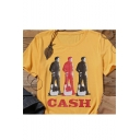CASH Letter Character Printed Yellow Round Neck Short Sleeve Tee