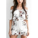 Fashion Summer Floral Printed Off the Shoulder Short Sleeve Womens White Chiffon Romper