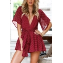 Women's Trendy Polka Dot Printed Sexy V-Neck Bow-Tied Waist Casual Playsuit Romper
