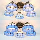 5 Lights Dome Ceiling Light Tiffany Style White/Clear Glass Semi Flush Ceiling Lamp for Living Room