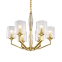 Cylinder Bedroom Pendant Lamp Metal and Glass 6/8 Lights Elegant Style Chandelier in Brass