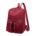 Nice Watertight Plain Double Pockets Oxford Cloth School Backpack 27*13*35 CM